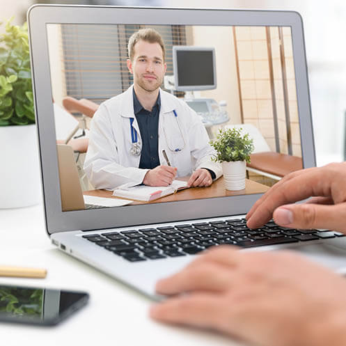 Doctor meeting on the pc via videocall